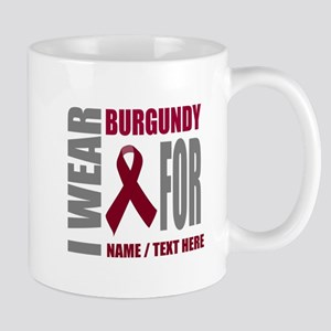 Burgundy Awareness Ribbon Custom 11 oz Ceramic Mug