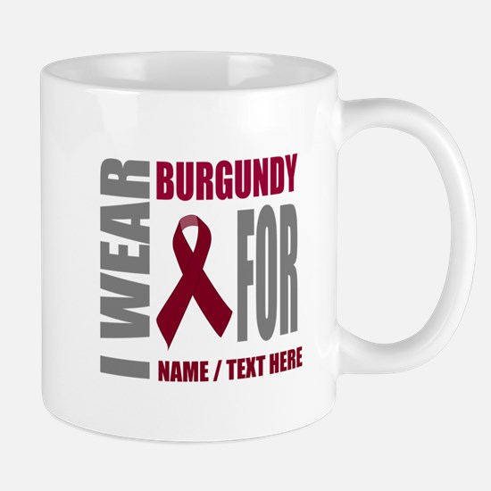 Burgundy Awareness Ribbon Custom Mug