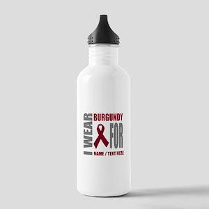 Burgundy Awareness Rib Stainless Water Bottle 1.0L