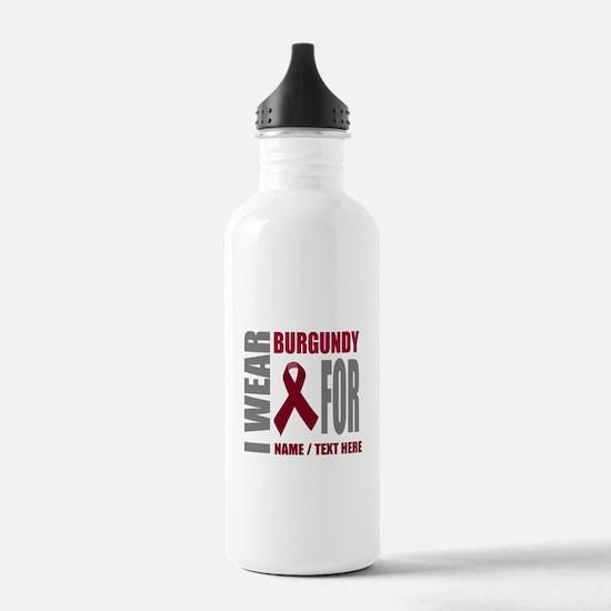 Burgundy Awareness Rib Water Bottle