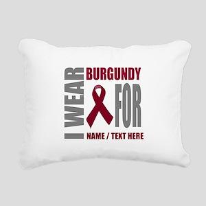 Burgundy Awareness Ribbo Rectangular Canvas Pillow
