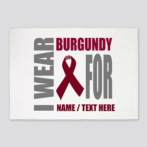 Burgundy Awareness Ribbon Customize 5'x7'Area Rug