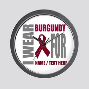 Burgundy Awareness Ribbon Customized Wall Clock