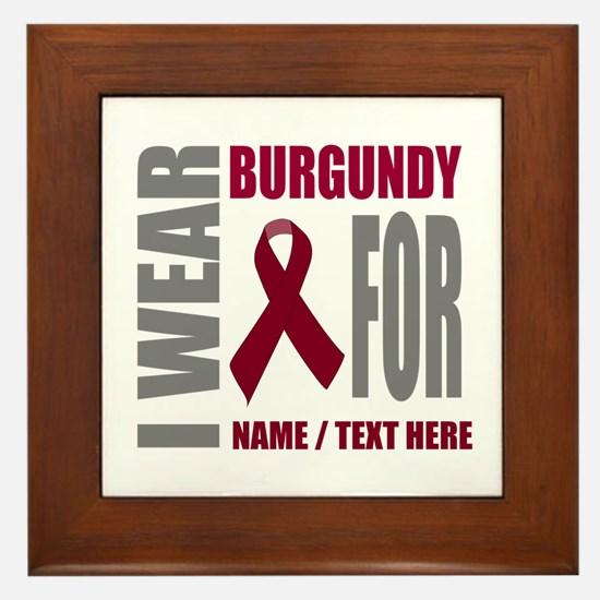 Burgundy Awareness Ribbon Customized Framed Tile