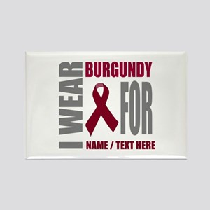 Burgundy Awareness Ribbon Customi Rectangle Magnet