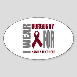 Burgundy Awareness Ribbon Customize Sticker (Oval)