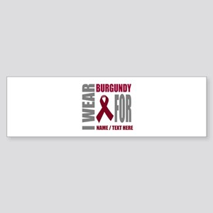 Burgundy Awareness Ribbon Customi Sticker (Bumper)