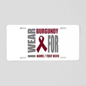 Burgundy Awareness Ribbon C Aluminum License Plate