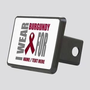 Burgundy Awareness Ribbon Rectangular Hitch Cover