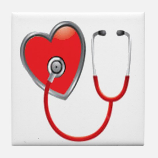 Heart with Stethoscope Tile Coaster