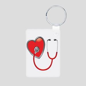 Heart with Stethoscope Aluminum Photo Keychain