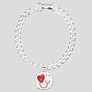 Heart with Stethoscope Charm Bracelet, One Charm