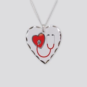Heart with Stethoscope Necklace Heart Charm