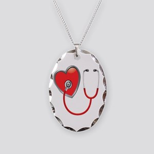 Heart with Stethoscope Necklace Oval Charm