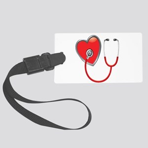 Heart with Stethoscope Large Luggage Tag