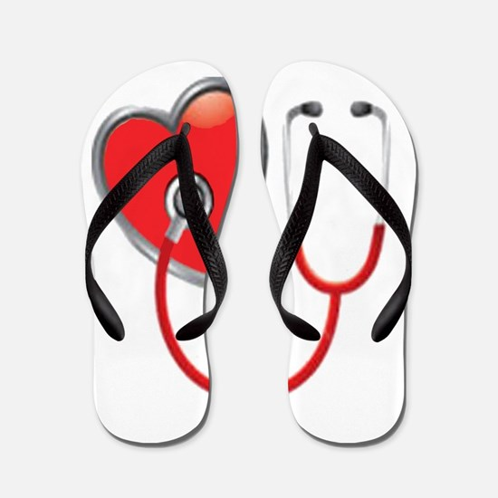 Heart with Stethoscope Flip Flops