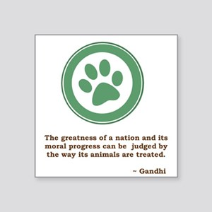 "Gandhi Green Paw Square Sticker 3"" x 3"""