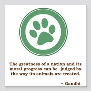 "Gandhi Green Paw Square Car Magnet 3"" x 3"""