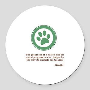 Gandhi Green Paw Round Car Magnet