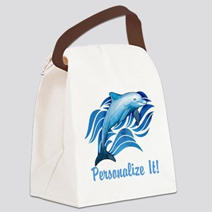 PERSONALIZED Ocean Dolphin Canvas Lunch Bag