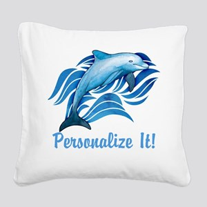 PERSONALIZED Ocean Dolphin Square Canvas Pillow