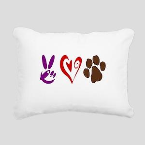 Peace, Love, Pets Symbols Rectangular Canvas Pillo