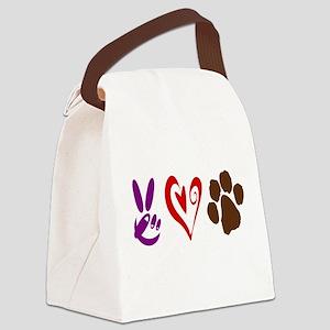 Peace, Love, Pets Symbols Canvas Lunch Bag