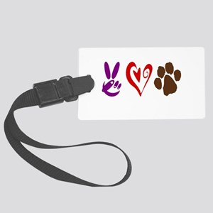 Peace, Love, Pets Symbols Large Luggage Tag