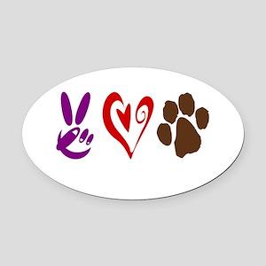 Peace, Love, Pets Symbols Oval Car Magnet