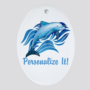 PERSONALIZED Ocean Dolphin Oval Ornament