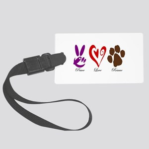 Peace, Love, Rescue Large Luggage Tag