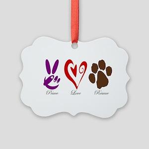 Peace, Love, Rescue Picture Ornament