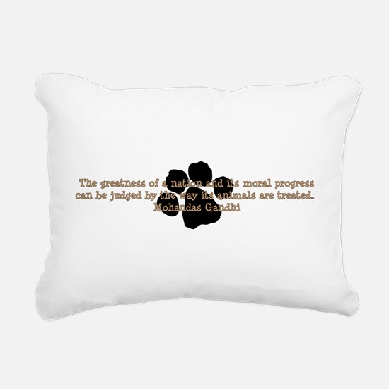 Gandhi Animal Quote Rectangular Canvas Pillow