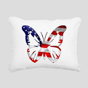 us-flag-butterfly Rectangular Canvas Pillow