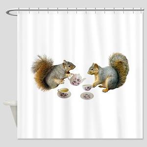 Squirrels Tea Party Shower Curtain