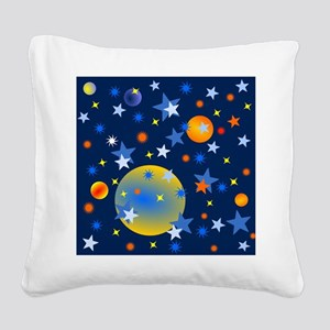 Celestial Stars and Planets Square Canvas Pillow