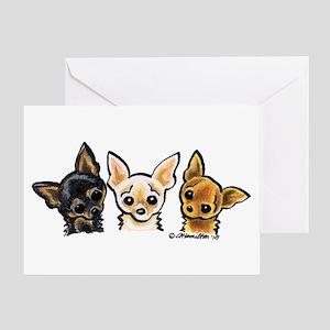 3 Smooth Chihuaha Greeting Card