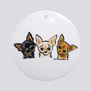 3 Smooth Chihuaha Ornament (Round)
