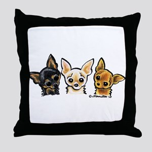 3 Smooth Chihuaha Throw Pillow