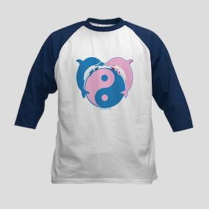 Yin Yang Dolphins Blue/Pink Kids Baseball Jersey