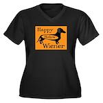 Happy Hollow Wiener Women's Plus Size V-Neck Dark