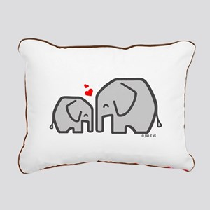Elephants (4) Rectangular Canvas Pillow