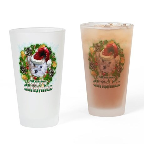 Merry Christmas Schnoodle.png Drinking Glass