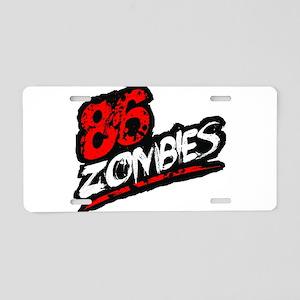 86 ZOMBIES logo Aluminum License Plate