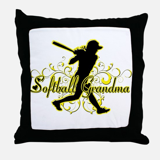 Softball Grandma (silhouette).png Throw Pillow