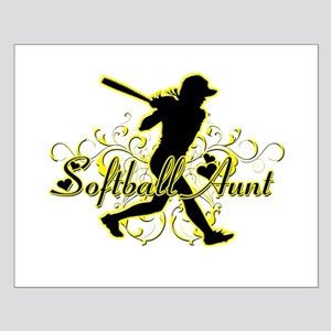 Softball Aunt (silhouette) Small Poster