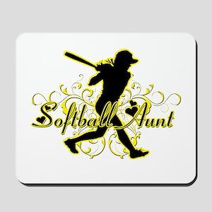 Softball Aunt (silhouette) Mousepad