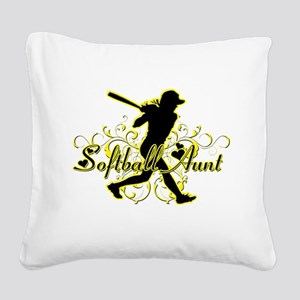 Softball Aunt (silhouette) Square Canvas Pillo