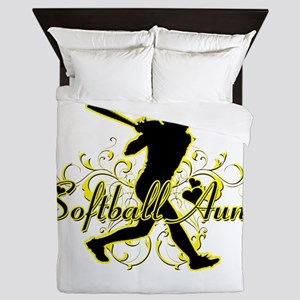 Softball Aunt (silhouette) Queen Duvet
