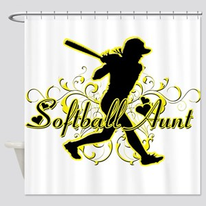 Softball Aunt (silhouette) Shower Curtain